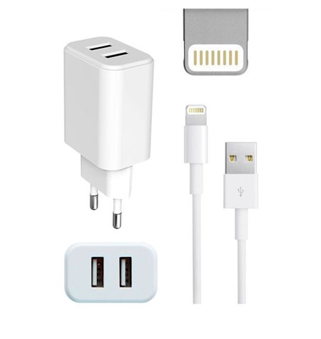 iPhone charger, iPad charger: Cable 1m Lightning + Adapter 2xUSB 2.1A