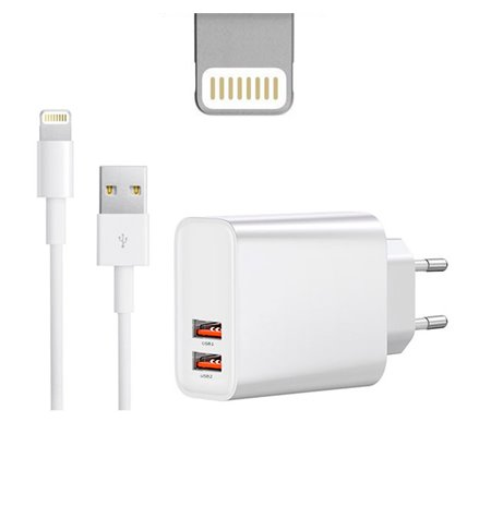 iPhone charger, iPad charger: Cable 1m Lightning + Adapter 2xUSB 3A Quick Charge
