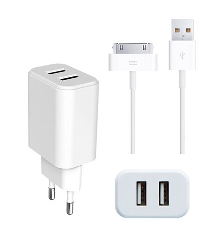iPhone charger, iPad charger: Cable 1m 30-pin + Adapter 2xUSB 2.1A