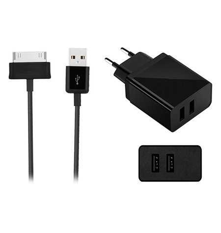 Samsung Tab charger: Cable 1m 30-pin + Adapter 2xUSB 2.1A