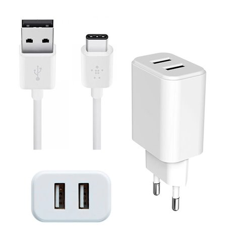 Charger USB-C Type-C: Cable 1m + Adapter 2xUSB 2.1A