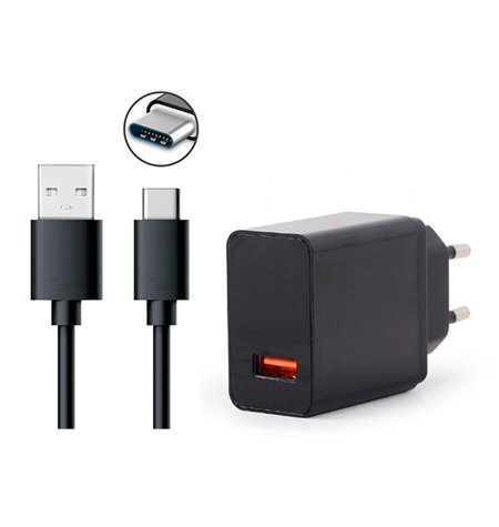 Charger USB-C Type-C: Cable 1m + Adapter 1xUSB 3A Quick Charge