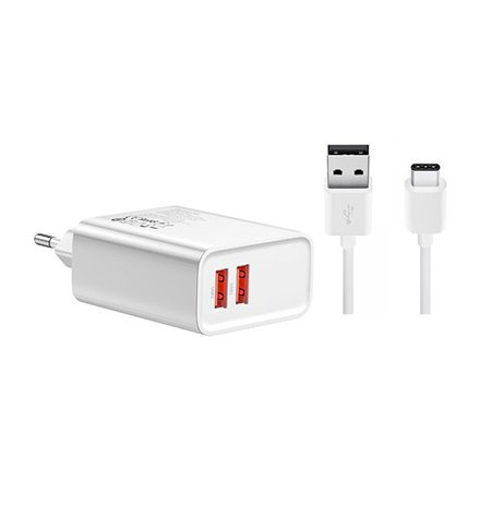 Charger USB-C Type-C: Cable 2m + Adapter 2xUSB 3A Quick Charge