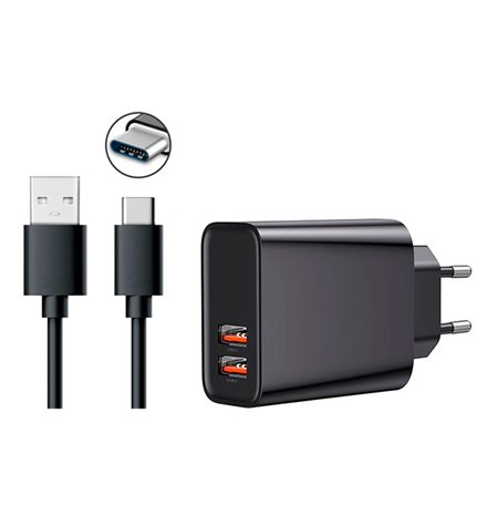 Charger USB-C Type-C: Cable 1m + Adapter 2xUSB 3A Quick Charge