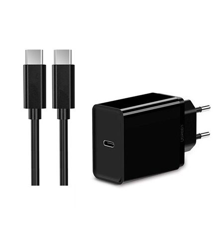 Charger USB-C Type-C: Cable 1m + Adapter 1xUSB-C 3A Quick Charge