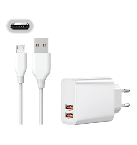 Charger Micro USB: Cable 1m + Adapter 2xUSB 3A Quick Charge