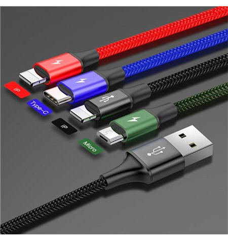 Baseus cable: 4in1, 1.2m, USB - 2x Lightning, iPhone, iPad + 1x USB-C, Type-C + 1x Micro USB: Rapid