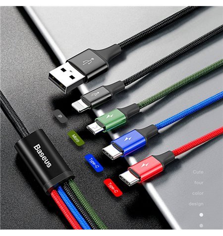 Baseus cable: 4in1, 1.2m, USB - 1x Lightning, iPhone, iPad + 2x USB-C, Type-C + 1x Micro USB: Rapid