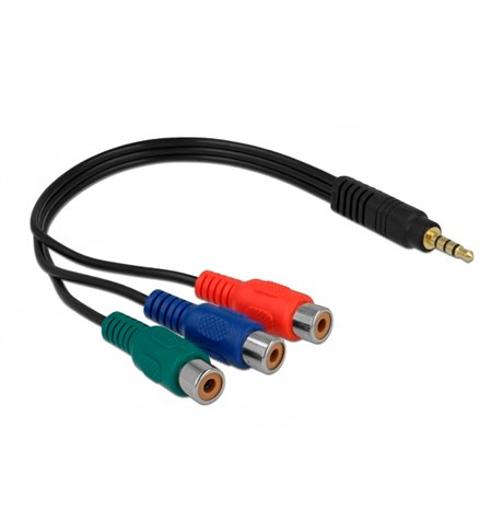 Adapter: 4pin, Video-jack, 3.5mm, male - 3x RCA audio-video, female