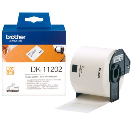 Brother DK-11202, Labels 62mm x 100mm, Black on White, 300pcs per roll