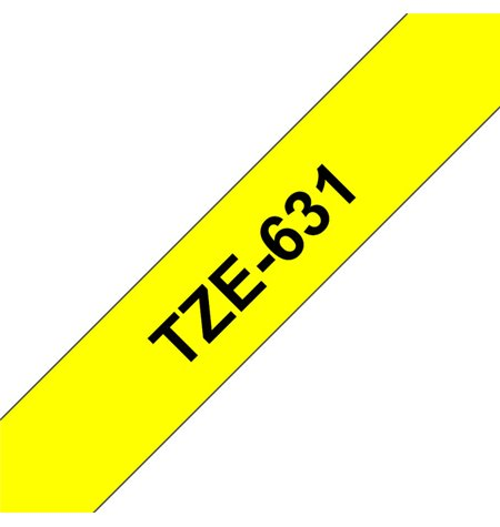 Brother TZe-631, Labelling Tape, Black on Yellow, 12mm wide, 8m long